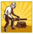 chainsaw lumberjack vector image vector image