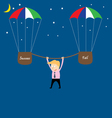 business man hanging from rope vector image
