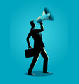 businessman using a megaphone vector image