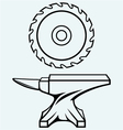 Circular saw blade and anvil vector image