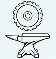Circular saw blade and anvil vector image