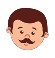 face man cartoon moustache isolated vector image