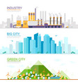 industrial city with heavy industry and factories vector image