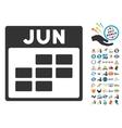 June Calendar Grid Flat Icon With Bonus vector image