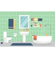 Modern bathroom interior with furniture in flat vector image