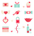 set of holiday elements for valentines day vector image