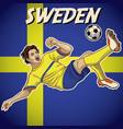 sweden soccer player with flag background vector image