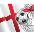Soccer goal and England flag vector image vector image