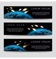 Meteor shower over globe map banners vector image
