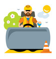 driver of road roller flat style colorful vector image
