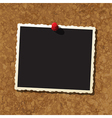Photo frame on cork board vector image