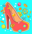 colorful of red womens shoes on blue backgr vector image