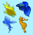 flying fish seahorse and other tropical fish vector image