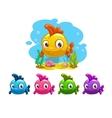 Funny cartoon yellow baby fish vector image