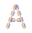 Letter A made in rainbow colors vector image