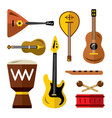 set of musical instruments flat style vector image