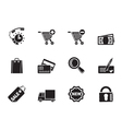 Silhouette Internet icons for online shop vector image