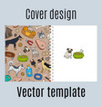 cover design with cute dogs pattern vector image