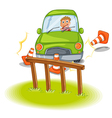 A reckless driver bumping the traffic cones vector image vector image