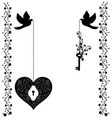 flourishes with doves heart and key vector image