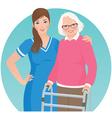 Elderly patient and a nurse vector image