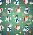 New year pattern with snowman and gift Christmas vector image
