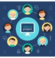 Computer and Children Faces Group Project vector image