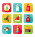Winter Christmas New Year Square App Icons Set vector image