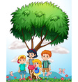 Children standing under the tree vector image