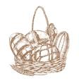 Fresh Bread Basket Hand Draw Sketch vector image