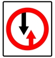Give way to oncoming traffic sign road vector image