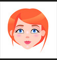 redhead woman calm face flat icon vector image