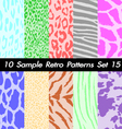10 Animal Retro Patterns Textures Set 15 vector image