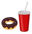 chocolate donut and a drink in red disposable cup vector image