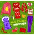 Christmas Fashionable Clothing Composition vector image