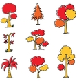 Doodle of autumn tree set vector image