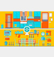 retro kitchen interior with furniture utensils vector image