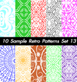 10 Retro Patterns Textures Set 13 vector image
