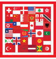red square with flags vector image vector image