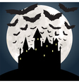 Castle and bat at night vector image