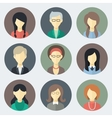Female Faces Icons Set vector image