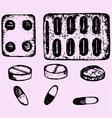 set pills tablets vector image