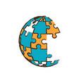globe puzzle pieces image vector image