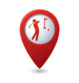 golf icon red map pointer vector image