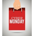 Hand holding bag cyber monday vector image