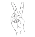 Hand with two fingers raised up on a white vector image