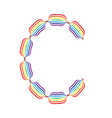 Letter C made in rainbow colors vector image