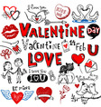 Valentine doodle set vector image