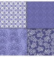 Violet and white floral wallpaper pattern set vector image