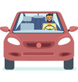 Man driving the red car vector image vector image